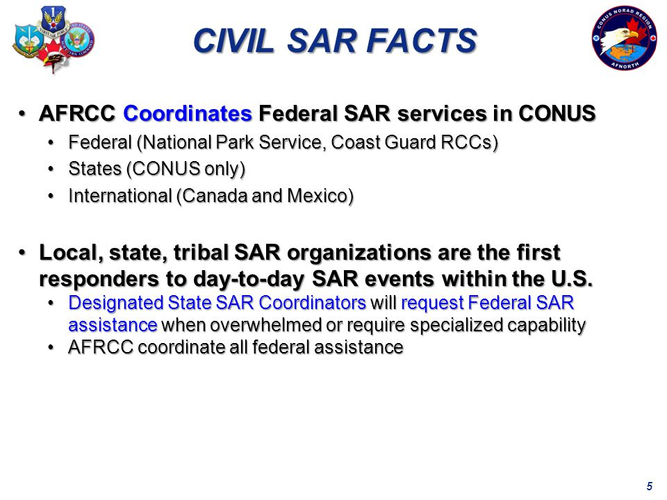 5 CIVIL SAR FACTS AFRCC Coordinates Federal SAR services in CONUSAFRCC Coordinates Federal SAR services in CONUS Federal (National Park Service, Coast Guard RCCs)Federal (National Park Service, Coast Guard RCCs) States (CONUS only)States (CONUS only) International (Canada and Mexico)International (Canada and Mexico) Local, state, tribal SAR organizations are the first responders to day-to-day SAR events within the U.S.Local, state, tribal SAR organizations are the first responders to day-to-day SAR events within the U.S.
