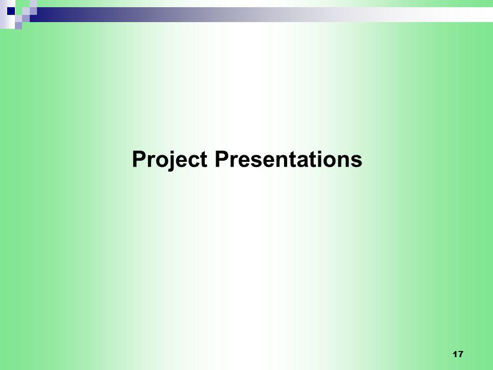 17 Project Presentations