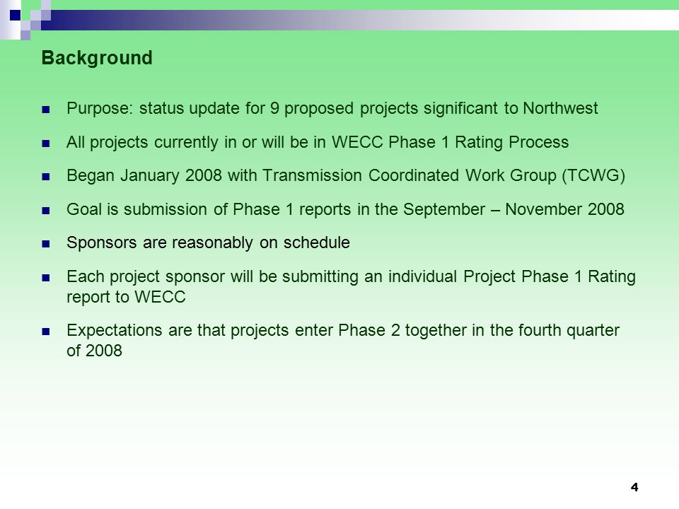 Next Steps: Coordination of Phase 2 Studies TCWG is the basis for the Phase 2 Project Review Group No need to have separate review teams for individual projects Timing Regular monthly meetings through Phase 2 – a meeting schedule will be published in the 4 th Quarter 2008 Recognize individual projects will proceed through Phase 2 on different schedules TCWG will function until the last project gets through Phase 2 at a minimum Coordination Activities Common/Similar assumptions Interactions with other TCWG- coordinated projects in Phase 2 TCWG is currently developing a base case with TCWG-coordinated projects 15