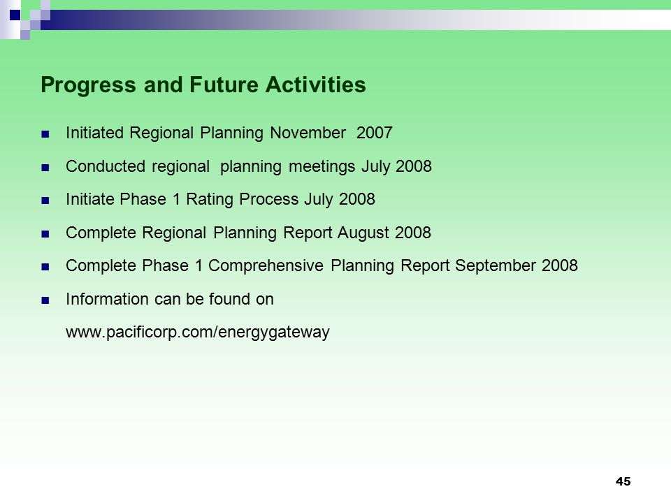 45 Progress and Future Activities Initiated Regional Planning November 2007 Conducted regional planning meetings July 2008 Initiate Phase 1 Rating Process July 2008 Complete Regional Planning Report August 2008 Complete Phase 1 Comprehensive Planning Report September 2008 Information can be found on www.pacificorp.com/energygateway