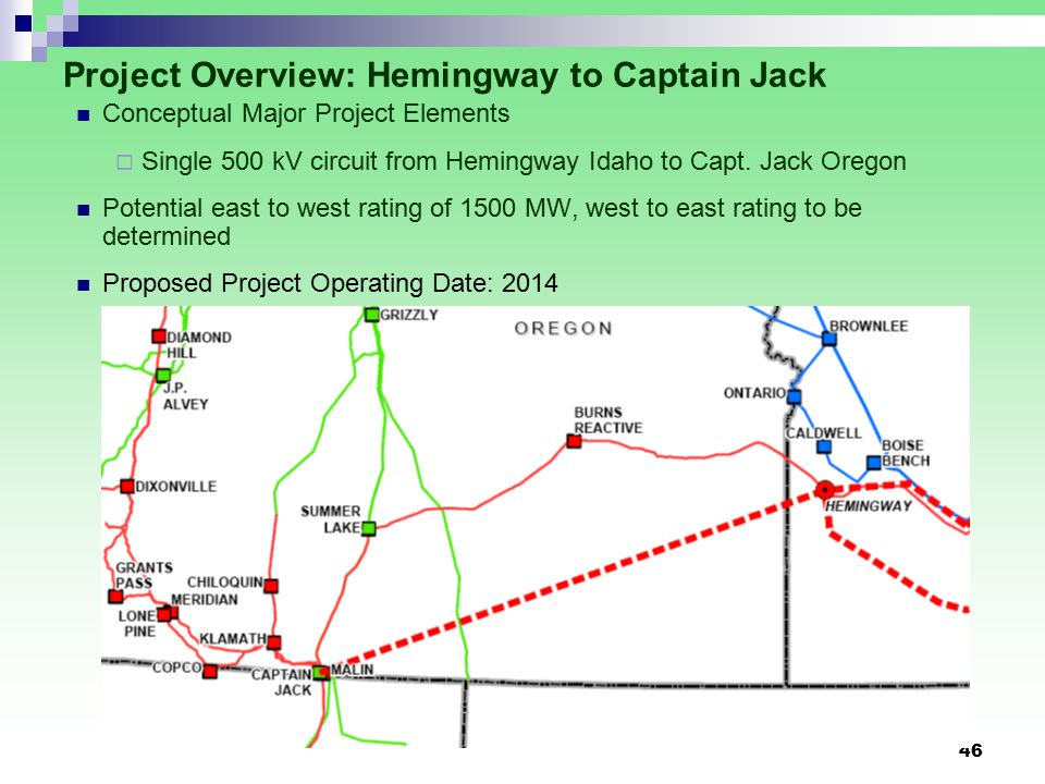 46 Project Overview: Hemingway to Captain Jack Conceptual Major Project Elements  Single 500 kV circuit from Hemingway Idaho to Capt.