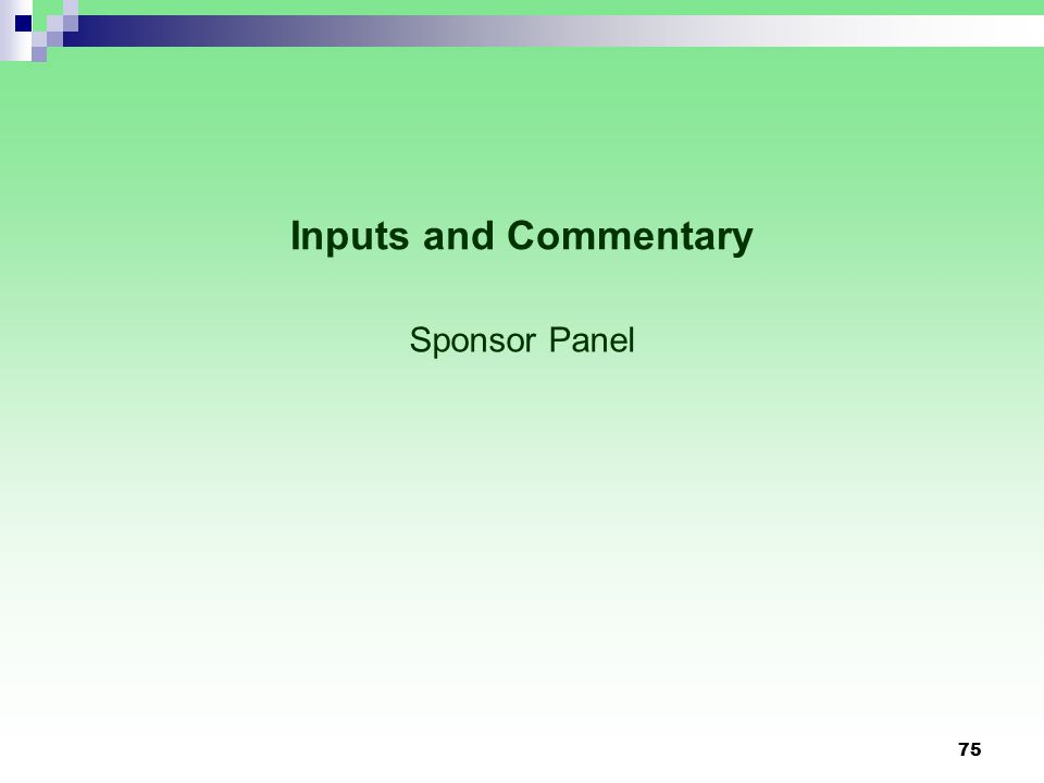 Inputs and Commentary Sponsor Panel 75