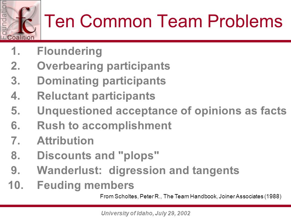 University of Idaho, July 29, 2002 Ten Common Team Problems 1.Floundering 2.Overbearing participants 3.Dominating participants 4.Reluctant participant