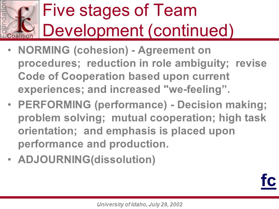 University of Idaho, July 29, 2002 Five stages of Team Development (continued) NORMING (cohesion) - Agreement on procedures; reduction in role ambiguity; revise Code of Cooperation based upon current experiences; and increased we-feeling .