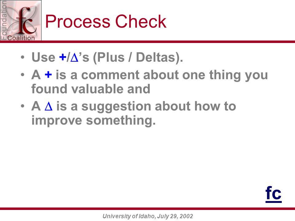 University of Idaho, July 29, 2002 Process Check Use +/  's (Plus / Deltas).