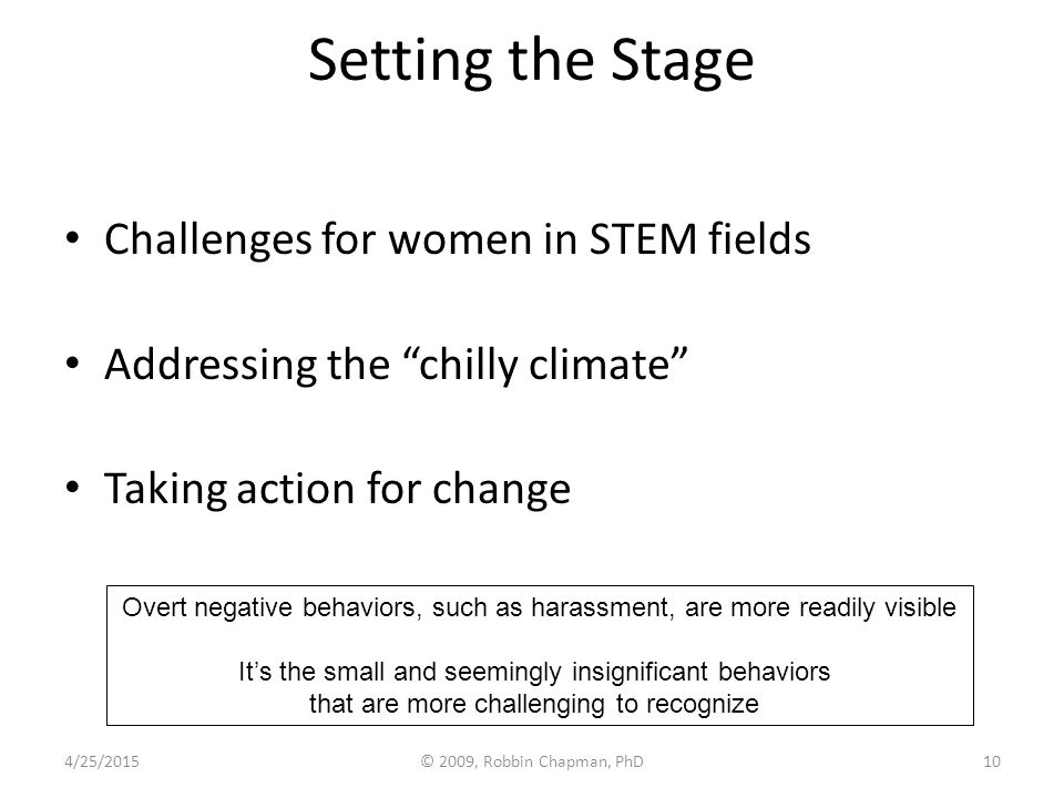 "Setting the Stage Challenges for women in STEM fields Addressing the ""chilly climate"" Taking action for change Overt negative behaviors, such as haras"