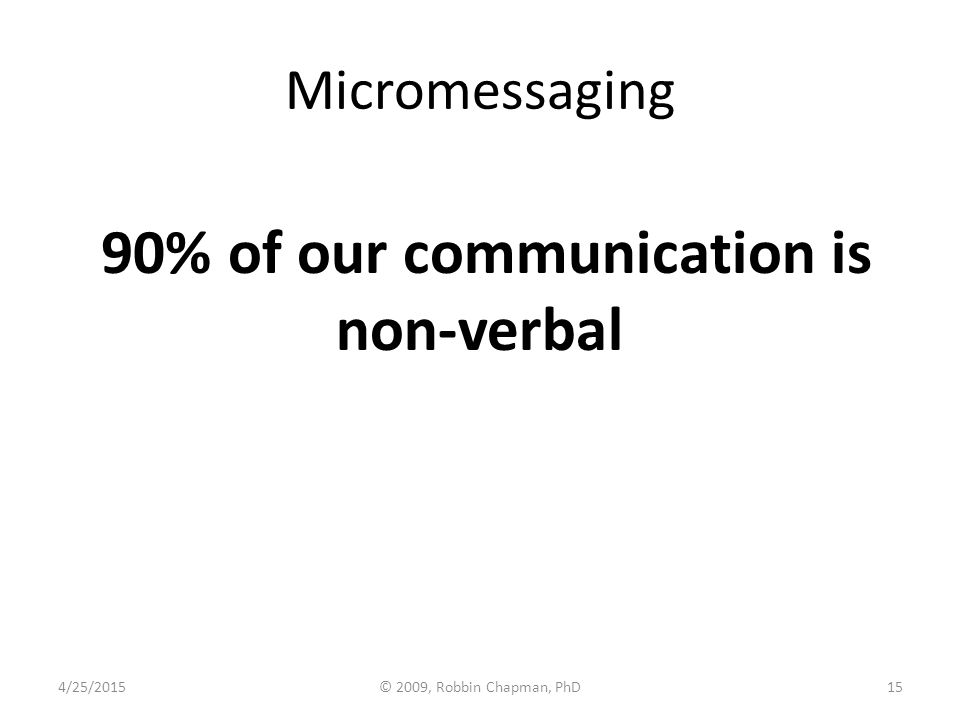 Micromessaging 90% of our communication is non-verbal 4/25/201515© 2009, Robbin Chapman, PhD