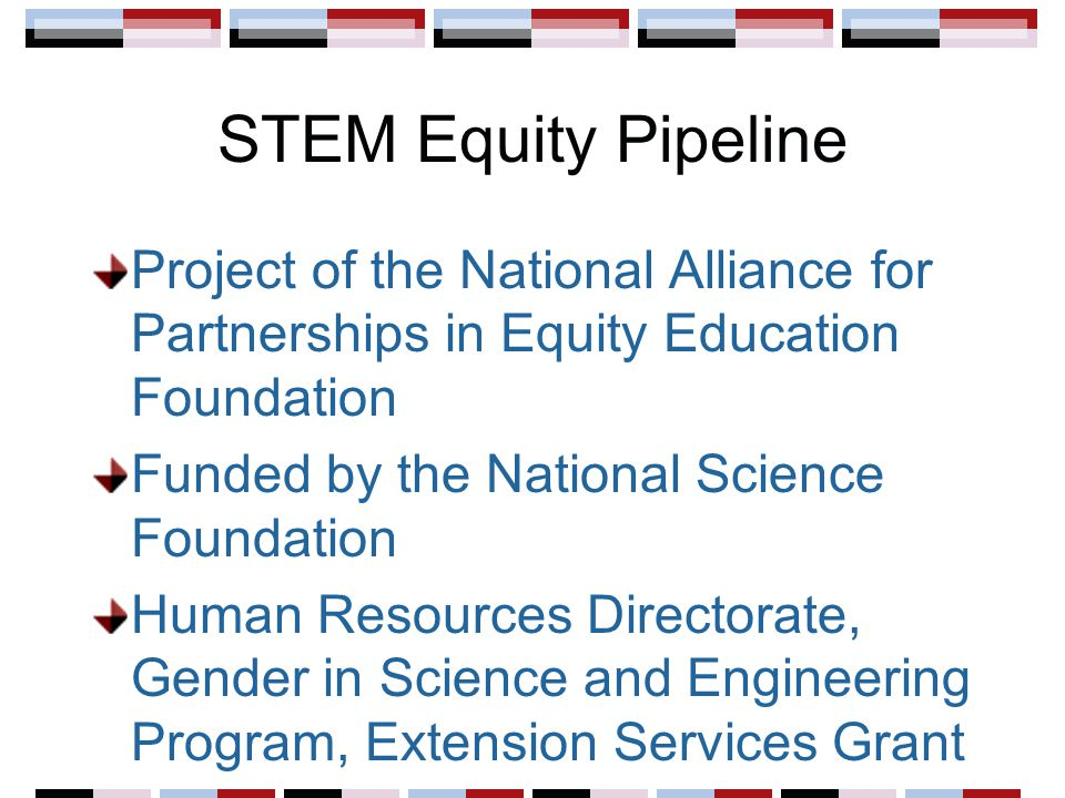 Goals Build the capacity of the formal education community to provide high quality professional development on gender equity in STEM education Institutionalize the implemented strategies by connecting the outcomes to existing accountability systems Broaden the commitment to gender equity in STEM education