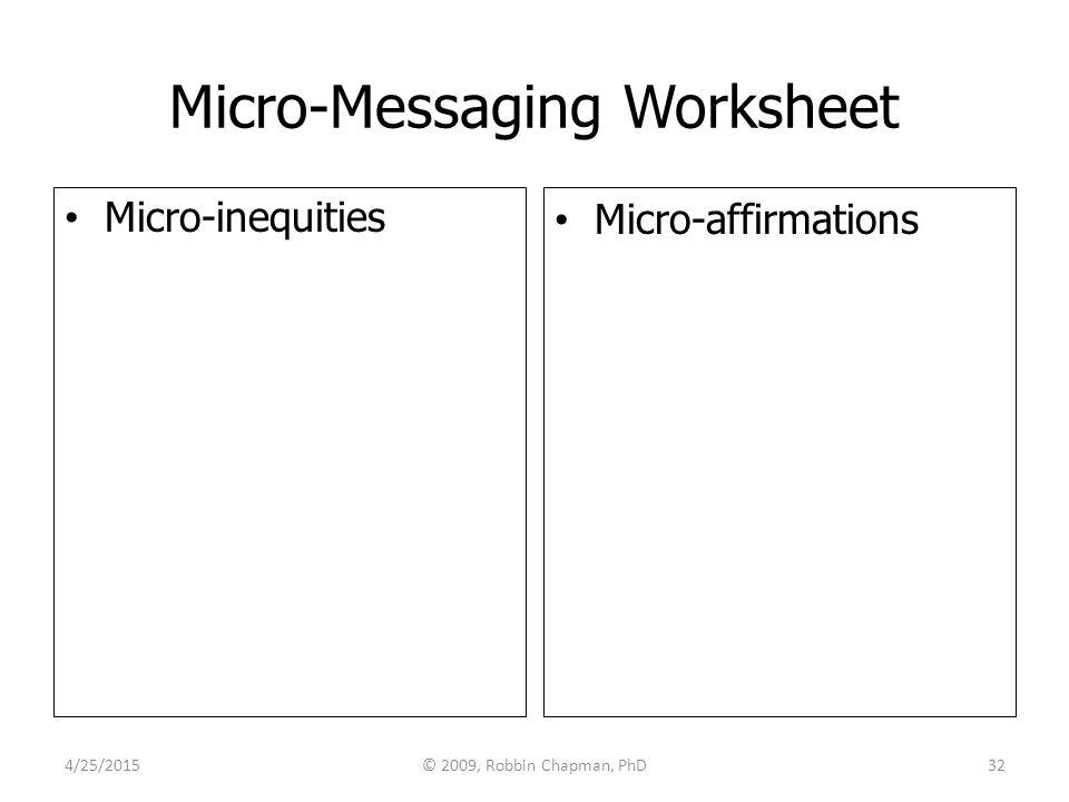 Micro-Messaging Worksheet Micro-inequities Micro-affirmations 4/25/201532© 2009, Robbin Chapman, PhD