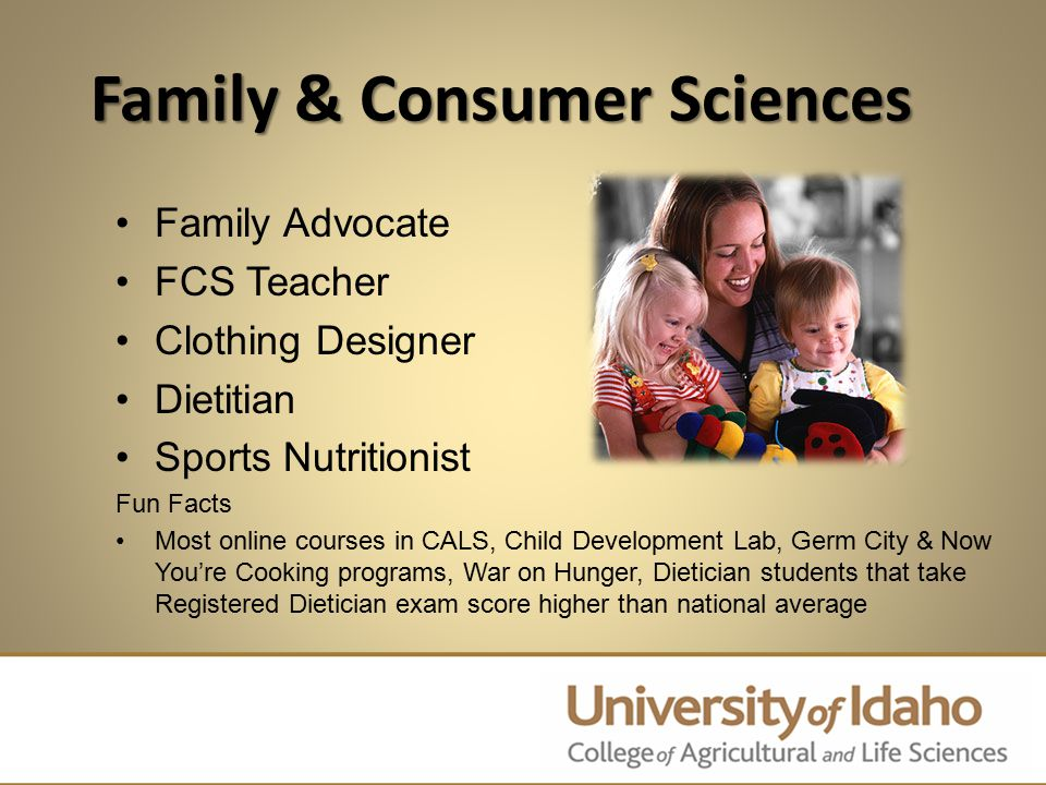Family & Consumer Sciences Family Advocate FCS Teacher Clothing Designer Dietitian Sports Nutritionist Fun Facts Most online courses in CALS, Child De