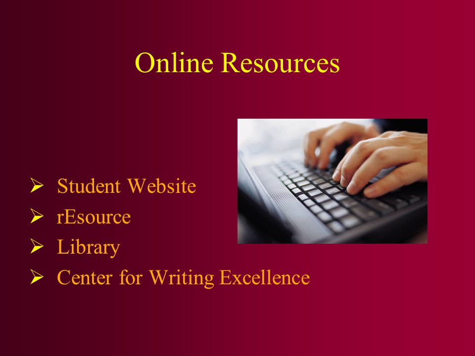 Online Resources  Student Website  rEsource  Library  Center for Writing Excellence