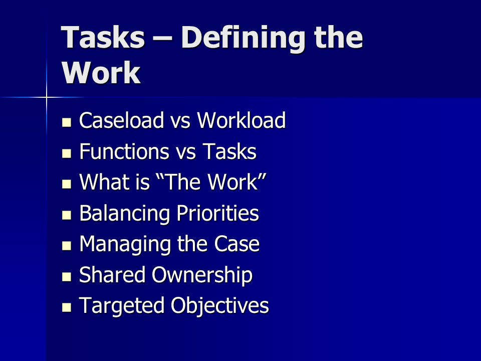 Tasks – Defining the Work Caseload vs Workload Caseload vs Workload Functions vs Tasks Functions vs Tasks What is The Work What is The Work Balancing Priorities Balancing Priorities Managing the Case Managing the Case Shared Ownership Shared Ownership Targeted Objectives Targeted Objectives