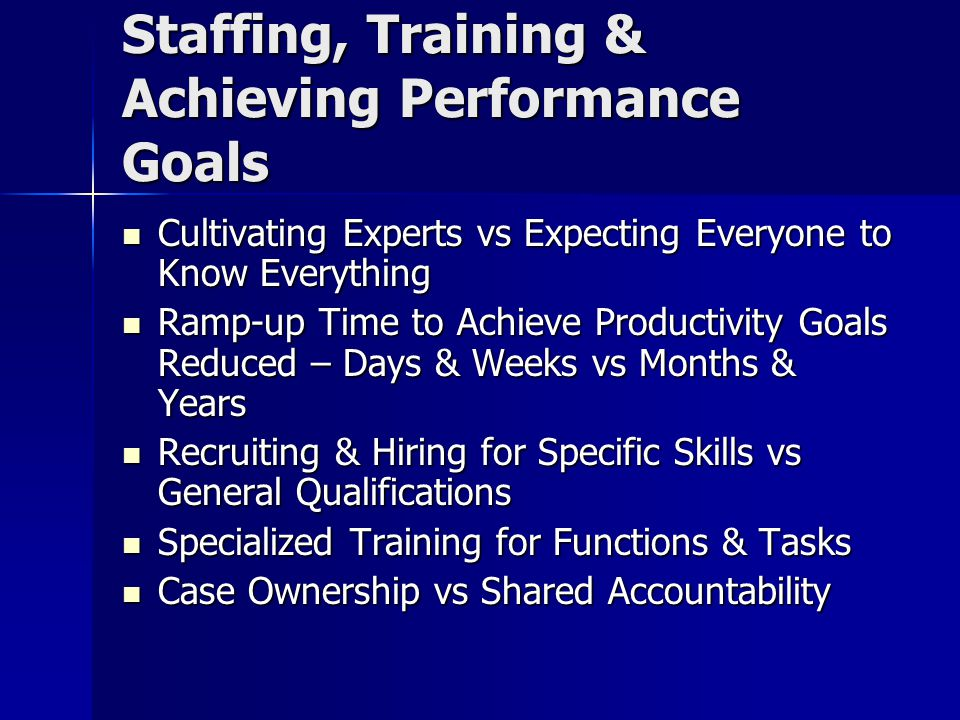 Staffing, Training & Achieving Performance Goals Cultivating Experts vs Expecting Everyone to Know Everything Cultivating Experts vs Expecting Everyon