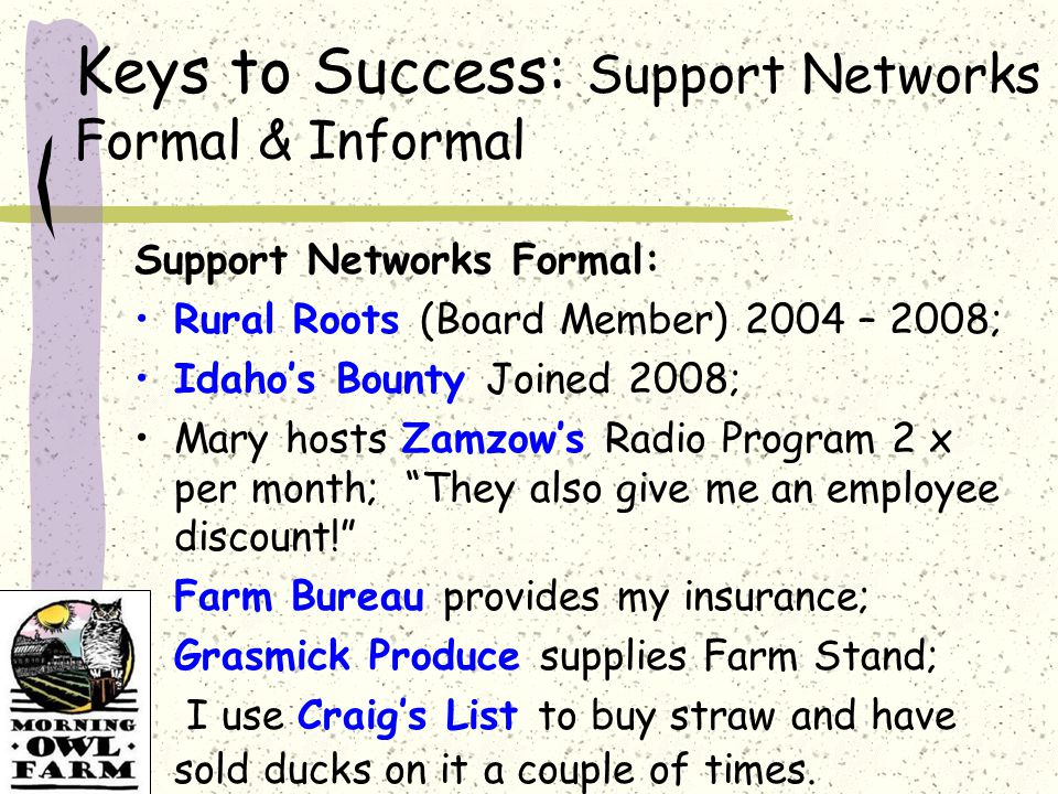 Keys to Success: Support Networks Formal & Informal Support Networks Formal: Rural Roots (Board Member) 2004 – 2008; Idaho's Bounty Joined 2008; Mary hosts Zamzow's Radio Program 2 x per month; They also give me an employee discount! Farm Bureau provides my insurance; Grasmick Produce supplies Farm Stand; I use Craig's List to buy straw and have sold ducks on it a couple of times.