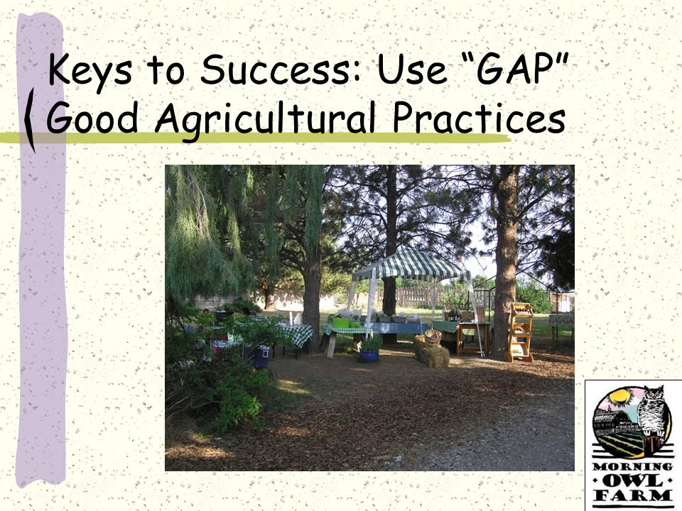 Keys to Success: Use GAP Good Agricultural Practices