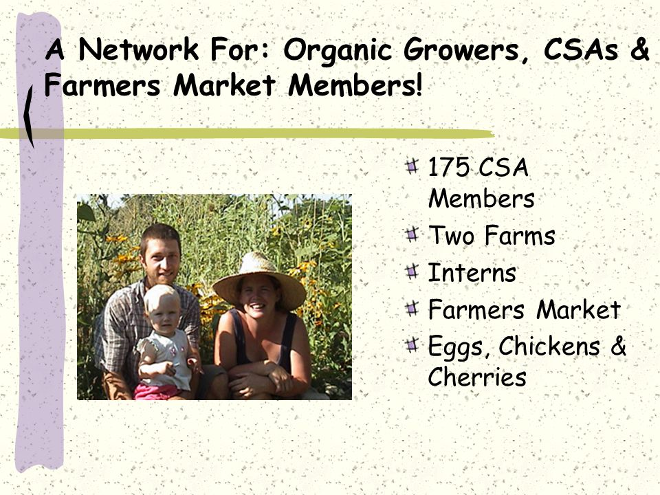 A Network For: Organic Growers, CSAs & Farmers Market Members.