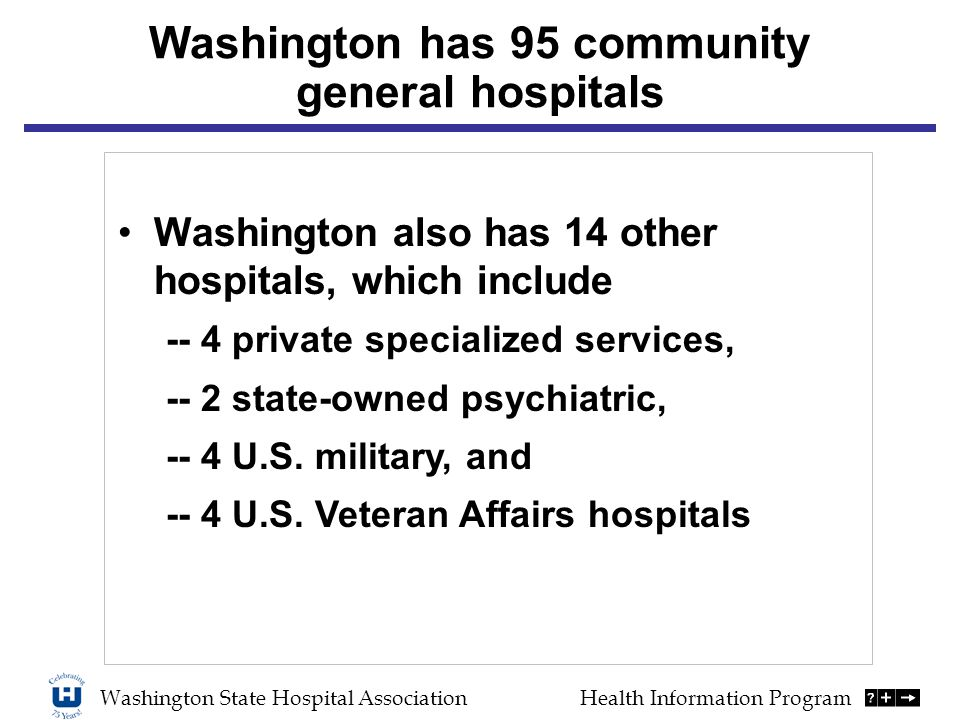 Washington has 95 community general hospitals Washington also has 14 other hospitals, which include -- 4 private specialized services, -- 2 state-owned psychiatric, -- 4 U.S.