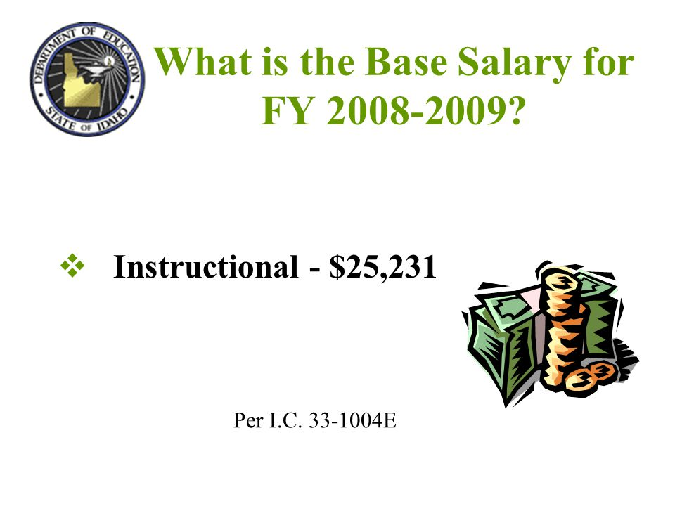 What is the Base Salary for FY 2008-2009  Instructional - $25,231 Per I.C. 33-1004E