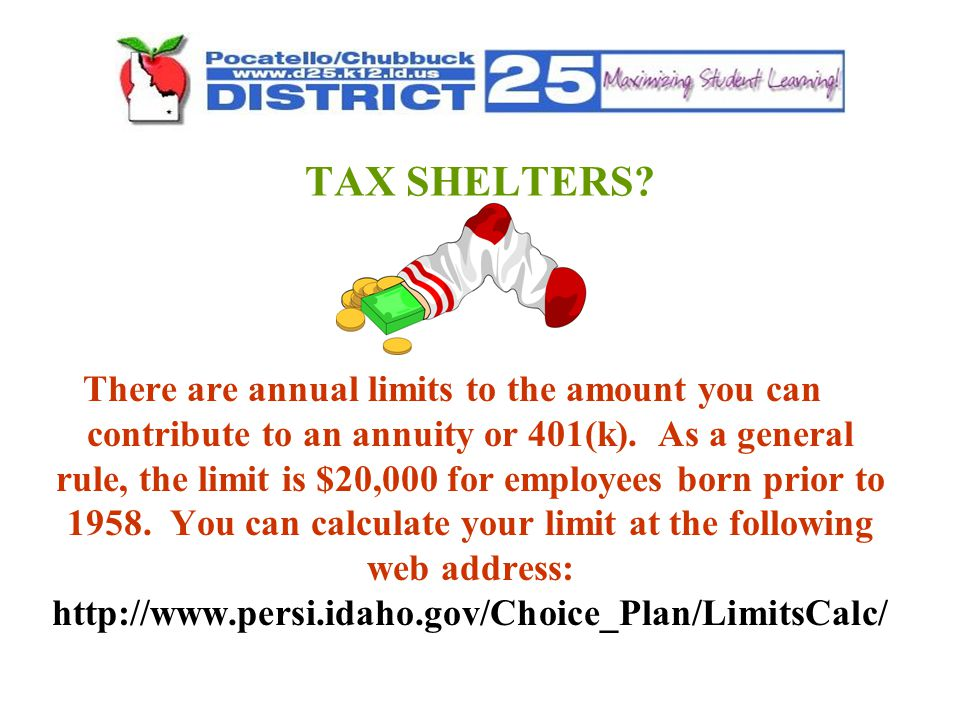 TAX SHELTERS. There are annual limits to the amount you can contribute to an annuity or 401(k).
