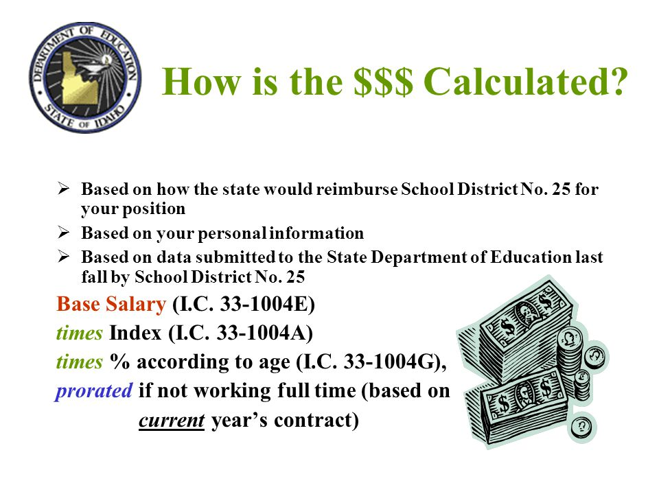 How is the $$$ Calculated?  Based on how the state would reimburse School District No. 25 for your position  Based on your personal information  Ba