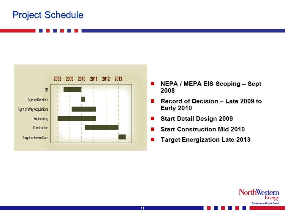 11 Project Schedule  NEPA / MEPA EIS Scoping – Sept 2008  Record of Decision – Late 2009 to Early 2010  Start Detail Design 2009  Start Constructi