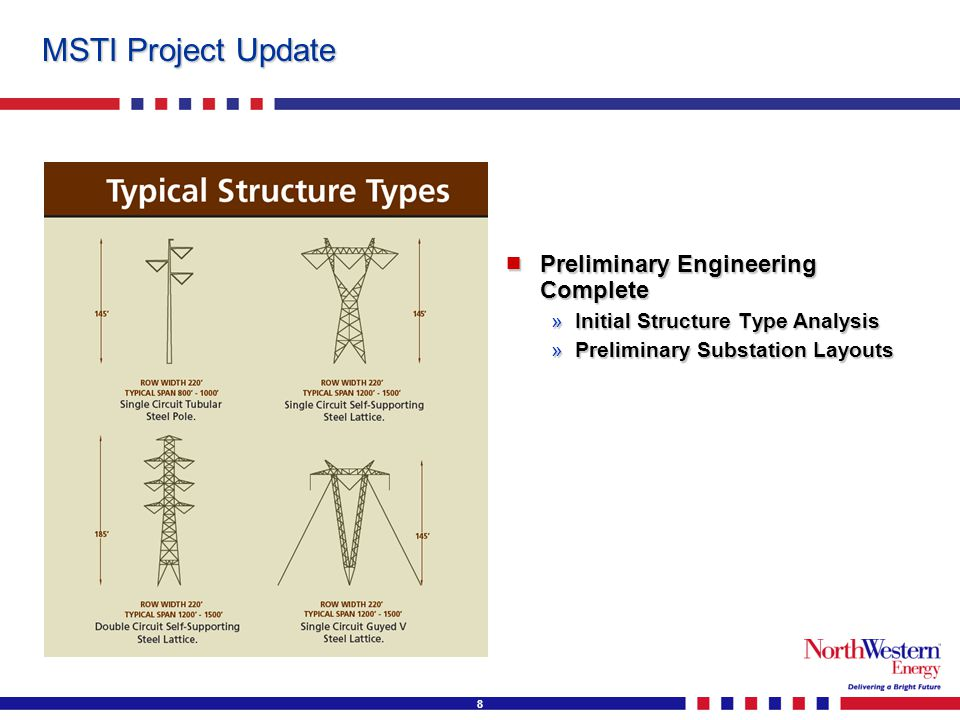 8 MSTI Project Update  Preliminary Engineering Complete »Initial Structure Type Analysis »Preliminary Substation Layouts
