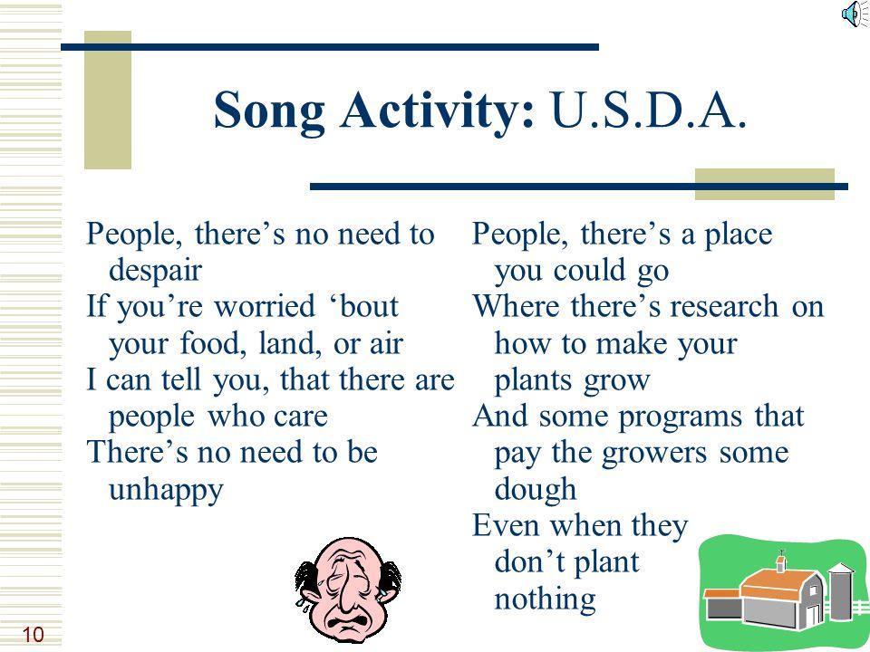 10 Song Activity: U.S.D.A.