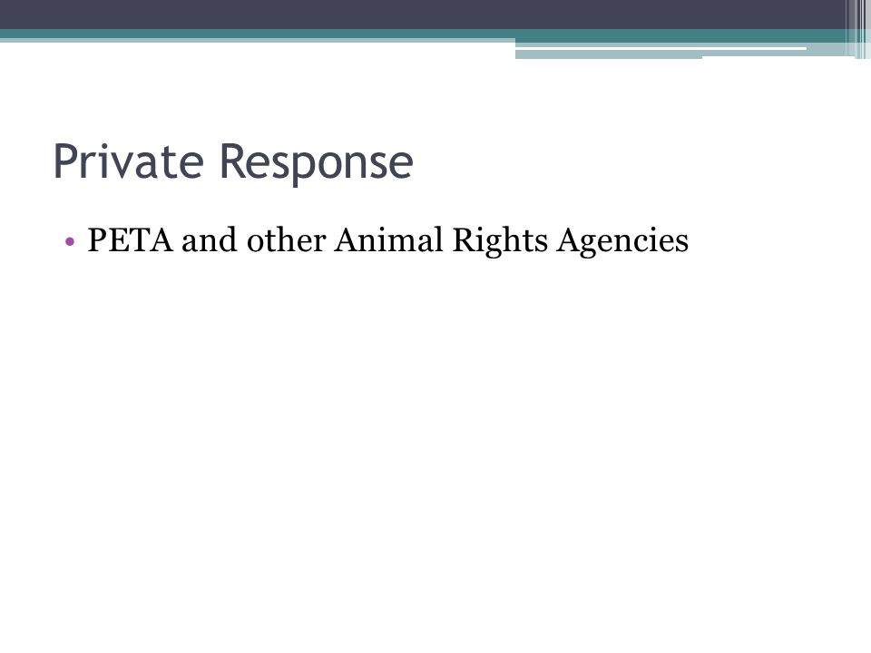 Private Response PETA and other Animal Rights Agencies
