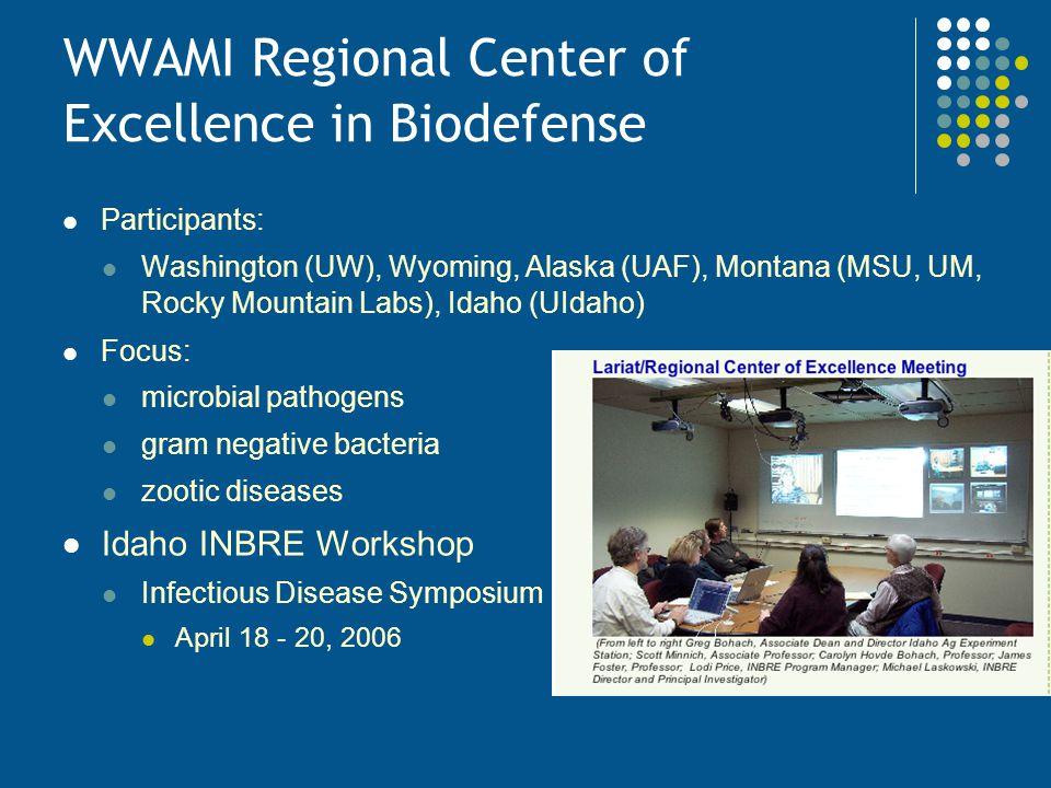 WWAMI Regional Center of Excellence in Biodefense Participants: Washington (UW), Wyoming, Alaska (UAF), Montana (MSU, UM, Rocky Mountain Labs), Idaho