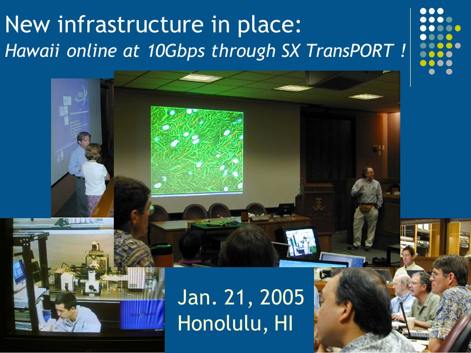 New infrastructure in place: Hawaii online at 10Gbps through SX TransPORT ! Jan. 21, 2005 Honolulu, HI