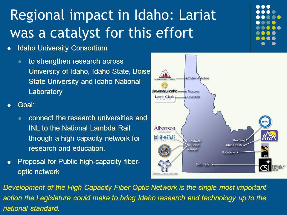 Regional impact in Idaho: Lariat was a catalyst for this effort Idaho University Consortium to strengthen research across University of Idaho, Idaho S