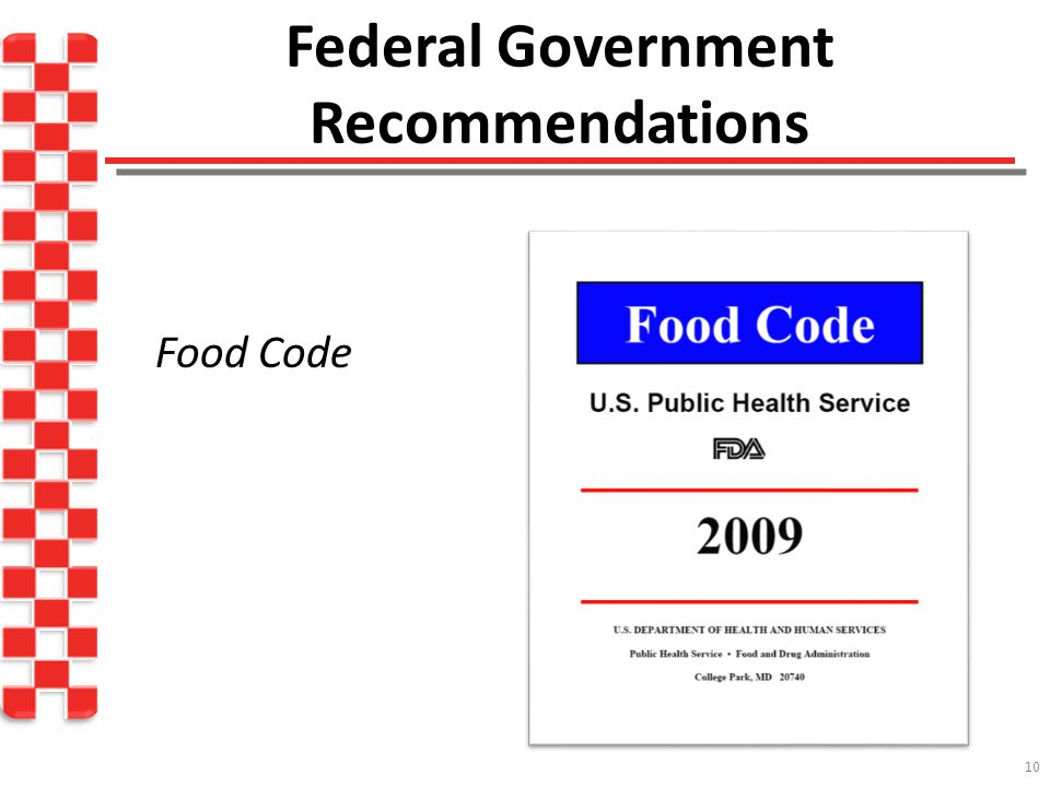 10 Federal Government Recommendations Food Code