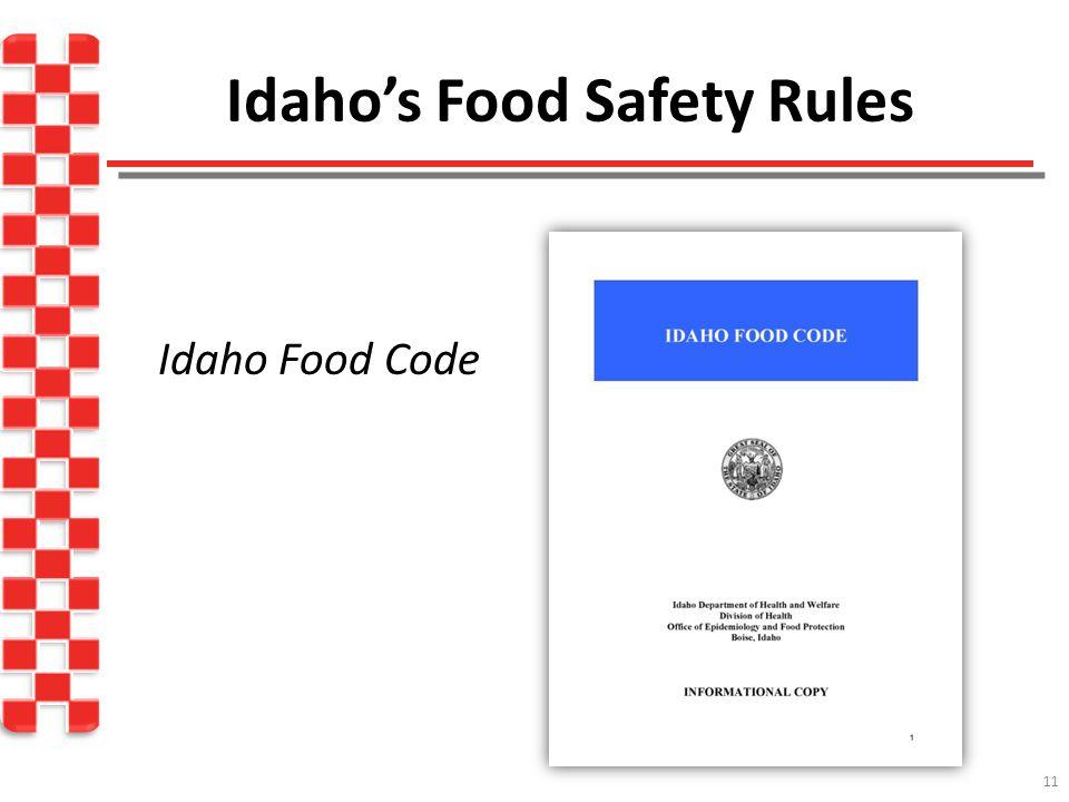 Idaho's Food Safety Rules Idaho Food Code 11