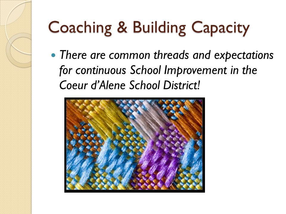 Coaching & Building Capacity There are common threads and expectations for continuous School Improvement in the Coeur d'Alene School District!