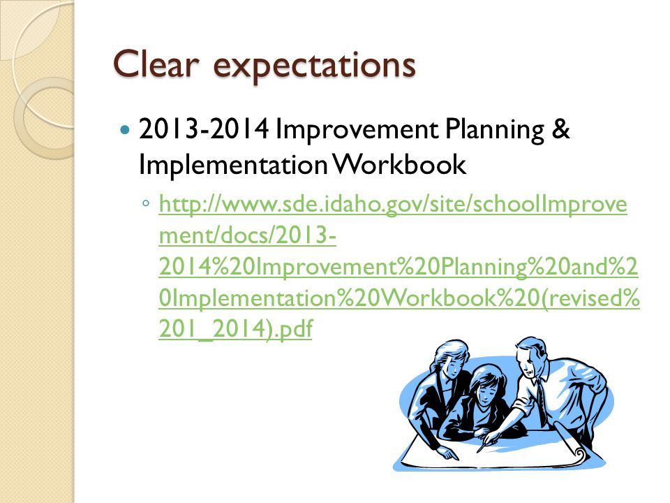 Clear expectations 2013-2014 Improvement Planning & Implementation Workbook ◦ http://www.sde.idaho.gov/site/schoolImprove ment/docs/2013- 2014%20Improvement%20Planning%20and%2 0Implementation%20Workbook%20(revised% 201_2014).pdf http://www.sde.idaho.gov/site/schoolImprove ment/docs/2013- 2014%20Improvement%20Planning%20and%2 0Implementation%20Workbook%20(revised% 201_2014).pdf
