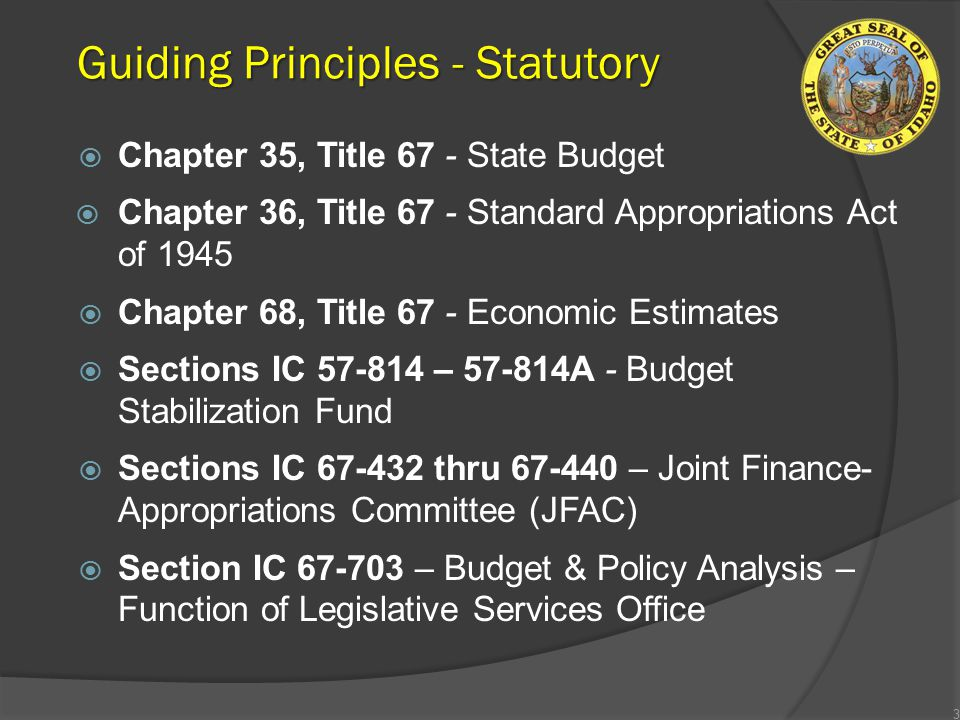 Guiding Principles - Statutory  Chapter 35, Title 67 - State Budget  Chapter 36, Title 67 - Standard Appropriations Act of 1945  Chapter 68, Title 67 - Economic Estimates  Sections IC 57-814 – 57-814A - Budget Stabilization Fund  Sections IC 67-432 thru 67-440 – Joint Finance- Appropriations Committee (JFAC)  Section IC 67-703 – Budget & Policy Analysis – Function of Legislative Services Office 3
