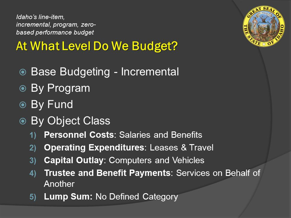 At What Level Do We Budget.