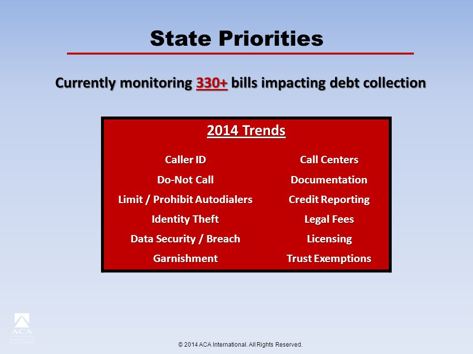 Currently monitoring 330+ bills impacting debt collection 2014 Trends Caller ID Call Centers Do-Not Call Documentation Limit / Prohibit Autodialers Credit Reporting Identity Theft Legal Fees Data Security / Breach Licensing Garnishment Trust Exemptions © 2014 ACA International.