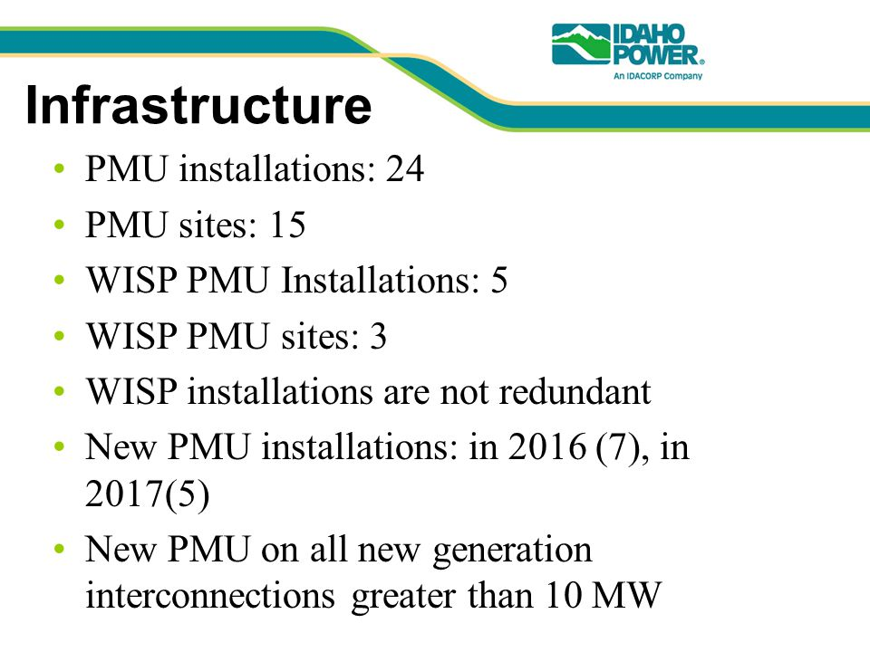 Infrastructure PMU installations: 24 PMU sites: 15 WISP PMU Installations: 5 WISP PMU sites: 3 WISP installations are not redundant New PMU installations: in 2016 (7), in 2017(5) New PMU on all new generation interconnections greater than 10 MW