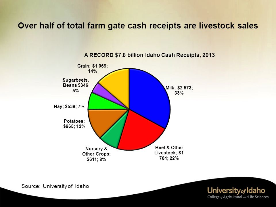 Over half of total farm gate cash receipts are livestock sales 17 Source: University of Idaho