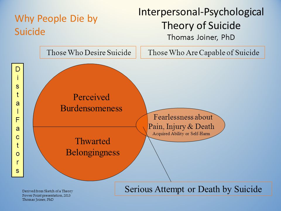 Interpersonal-Psychological Theory of Suicide Thomas Joiner, PhD Perceived Burdensomeness Thwarted Belongingness Those Who Are Capable of Suicide Fearlessness about Pain, Injury & Death Acquired Ability or Self-Harm Serious Attempt or Death by Suicide Those Who Desire Suicide Derived from Sketch of a Theory Power Point presentation, 2013 Thomas Joiner, PhD DistalFactorsDistalFactors Why People Die by Suicide