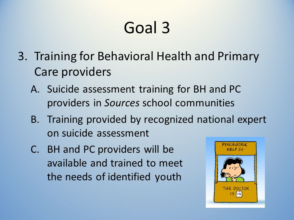 Goal 3 3.Training for Behavioral Health and Primary Care providers A.Suicide assessment training for BH and PC providers in Sources school communities B.Training provided by recognized national expert on suicide assessment C.BH and PC providers will be available and trained to meet the needs of identified youth