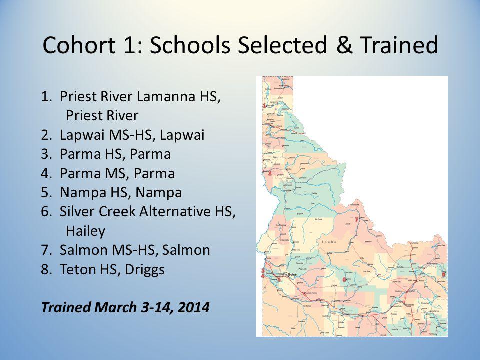 Cohort 1: Schools Selected & Trained 1. Priest River Lamanna HS, Priest River 2.