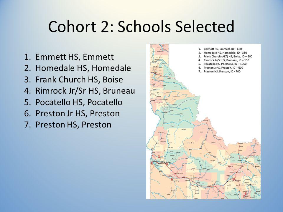 Cohort 2: Schools Selected 1. Emmett HS, Emmett 2.