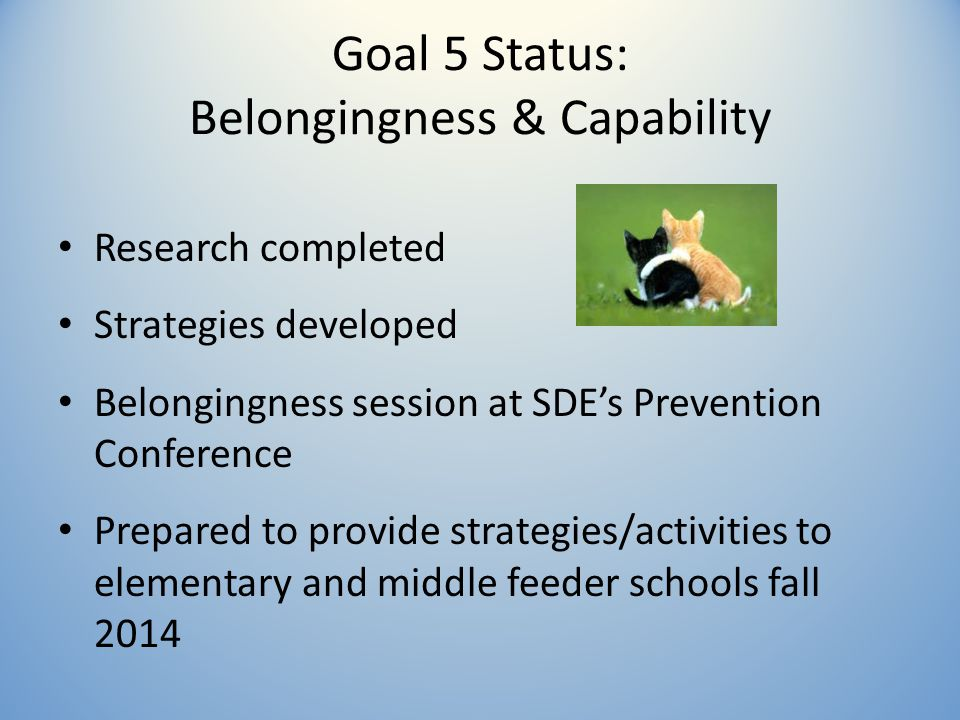 Goal 5 Status: Belongingness & Capability Research completed Strategies developed Belongingness session at SDE's Prevention Conference Prepared to provide strategies/activities to elementary and middle feeder schools fall 2014