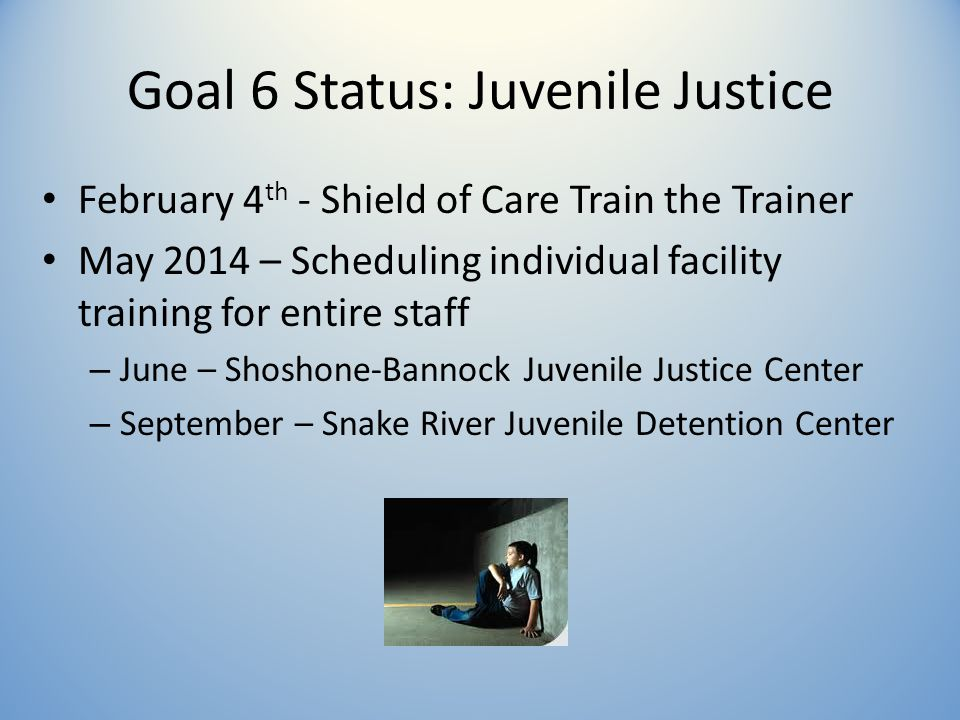 Goal 6 Status: Juvenile Justice February 4 th - Shield of Care Train the Trainer May 2014 – Scheduling individual facility training for entire staff – June – Shoshone-Bannock Juvenile Justice Center – September – Snake River Juvenile Detention Center