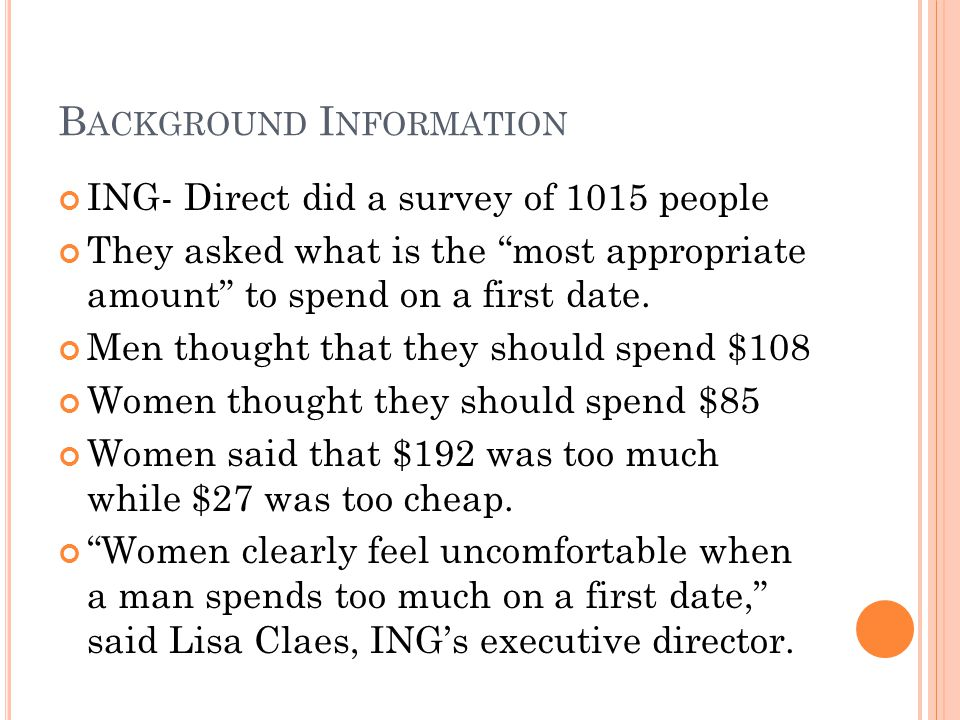 """B ACKGROUND I NFORMATION ING- Direct did a survey of 1015 people They asked what is the """"most appropriate amount"""" to spend on a first date. Men though"""