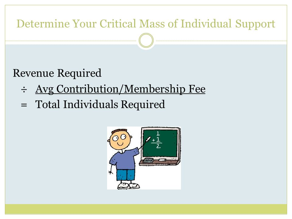 Determine Your Critical Mass of Individual Support Revenue Required ÷ Avg Contribution/Membership Fee = Total Individuals Required