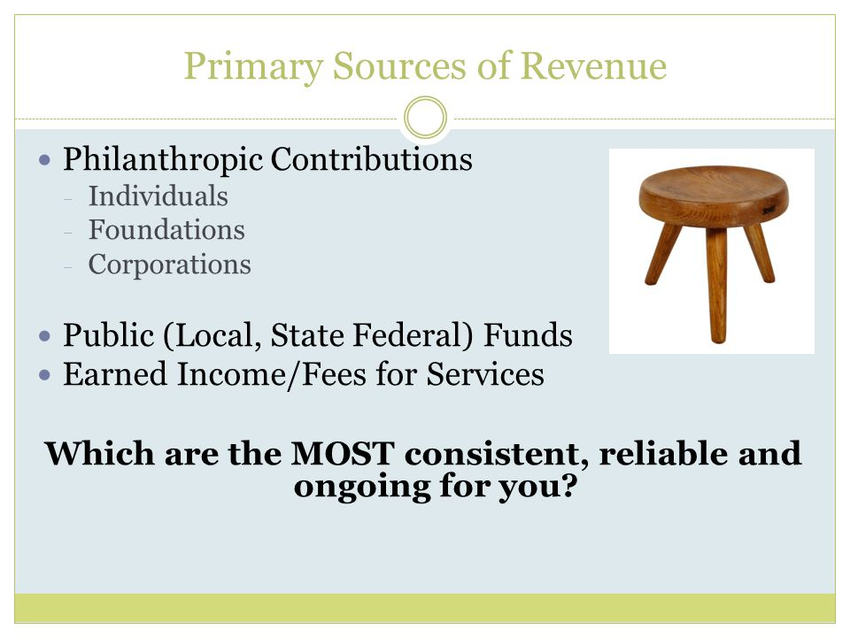Primary Sources of Revenue Philanthropic Contributions  Individuals  Foundations  Corporations Public (Local, State Federal) Funds Earned Income/Fe