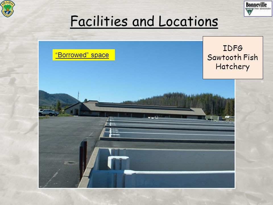 "Facilities and Locations IDFG Sawtooth Fish Hatchery ""Borrowed"" space"